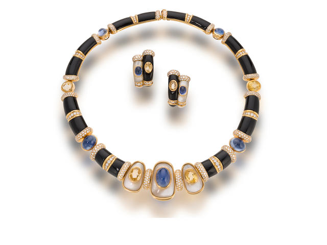 A sapphire, mother-of-pearl and diamond necklace and pair of earclips, Mauboussin,