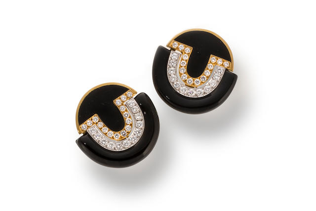 A pair of enamel and diamond earclips, David Webb