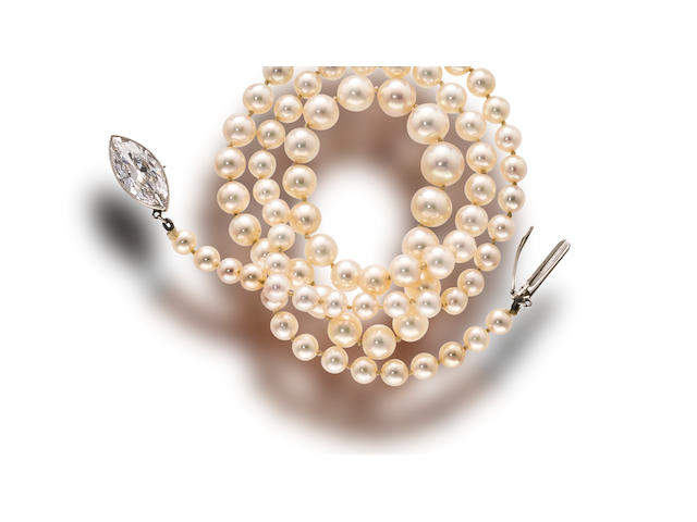A belle époque natural pearl and diamond necklace, Theodore B. Starr,