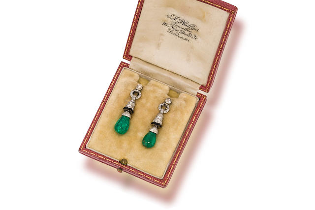 A pair of emerald, diamond and enamel pendant earrings