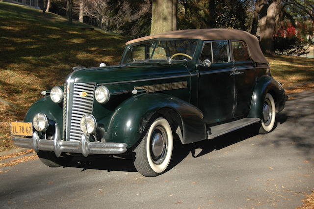 Originally purchased new by Mrs. Frances Crocker Sloane of W&J Sloane Furniture company fame, single family ownership from new,1937 Buick 40-C Convertible Phaeton  Chassis no. 3154981 Engine no. 43333954