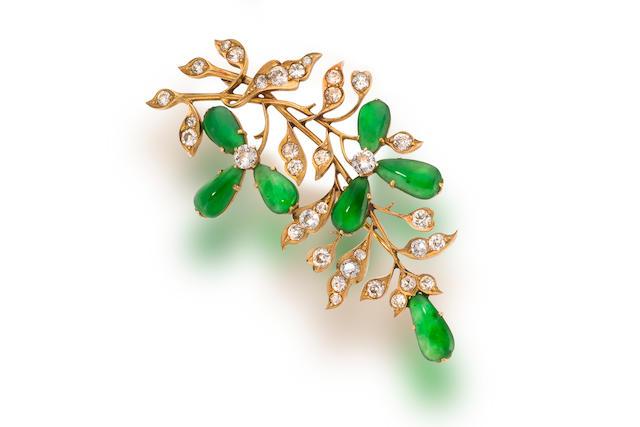 A jadeite jade and diamond brooch