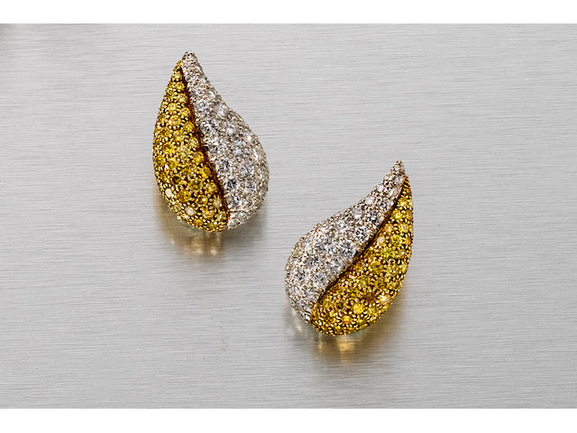 A pair of yellow diamond and diamond earclips, Van Cleef & Arpels,