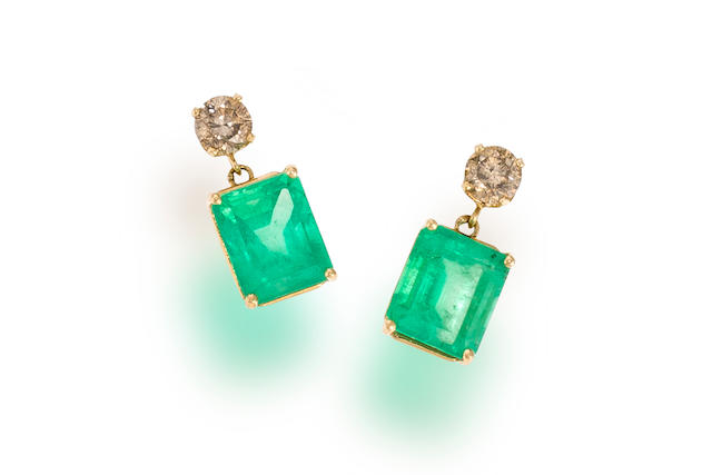 A pair of emerald and colored diamond pendant earrings