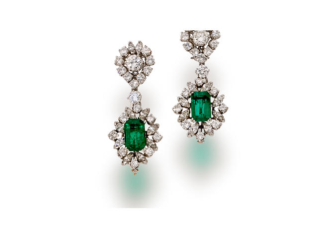 A pair of emerald and diamond day/night earclips