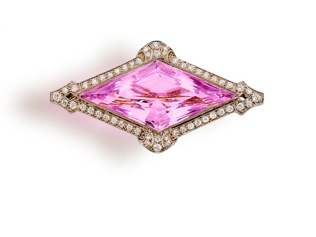 A belle époque kunzite and diamond brooch,