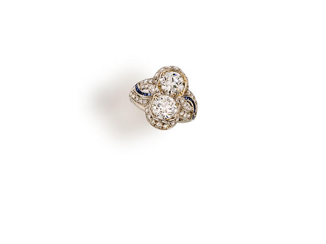 An art deco diamond two-stone ring