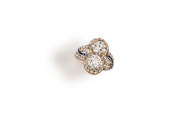 An art deco diamond two-stone ring