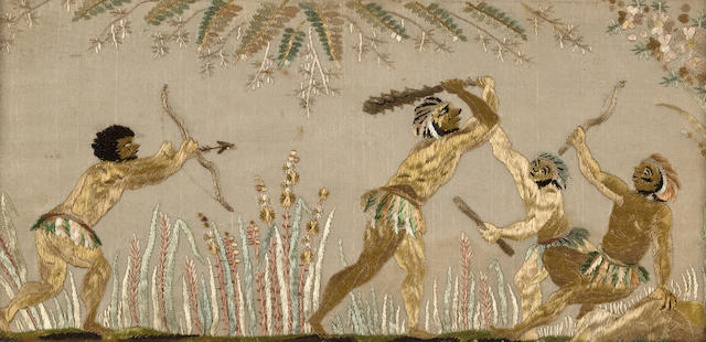 A pair of silk embroideries of figures in combat, possibly colonial