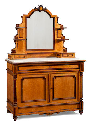 A Louis XVI style mahogany and bird's eye maple bedroom suite