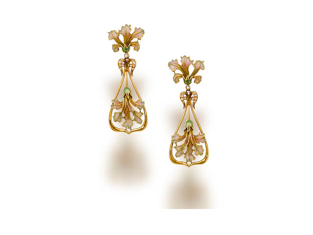 A pair of enamel and diamond pendant earrings, Masriera & Carreras