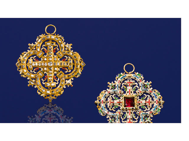 A Renaissance Revival garnet, diamond and enamel pendant,