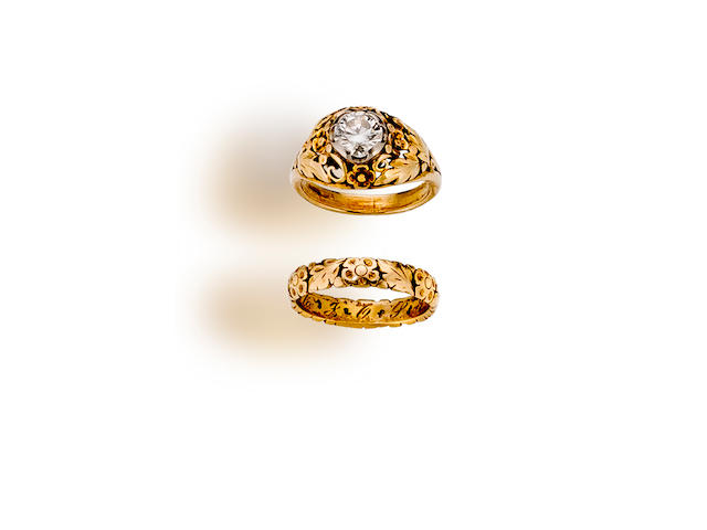 A diamond solitaire ring and band, Elsie Parsons
