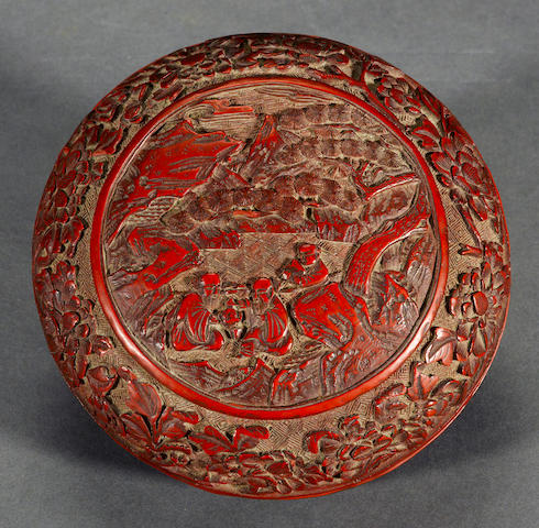 A cinnabar laquered covered circular box  Late Qing dynasty