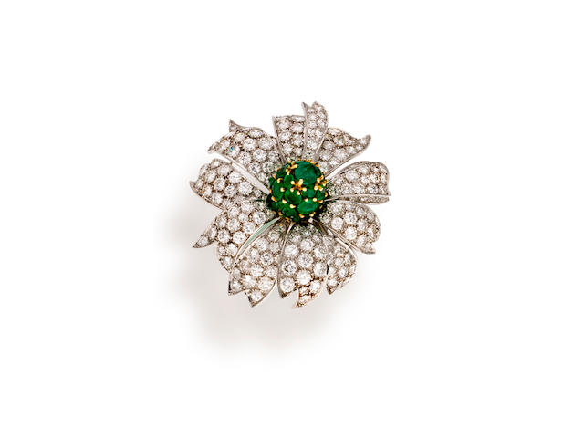 A diamond and emerald brooch, Schlumberger for Tiffany & Co.