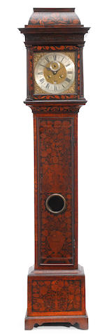 A William and Mary floral marquetry walnut tall case clock  Andr. Dunlop, London late 17th century