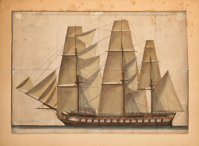 An engraving of a 74-gun ship of the line  18 x 26 in. (45.7 x 66 cm.)
