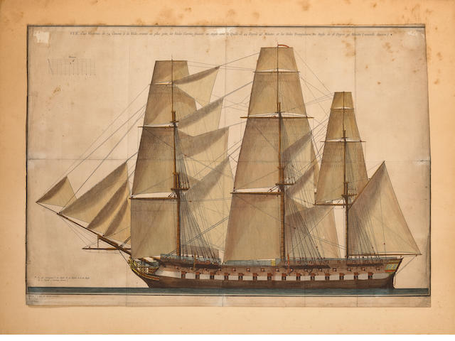 12-19th Century Engraving of a French 74 Gun Ship