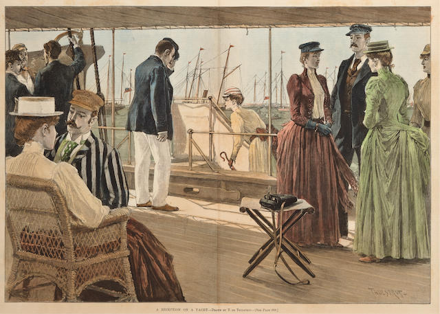 Engraving of a reception on a yacht