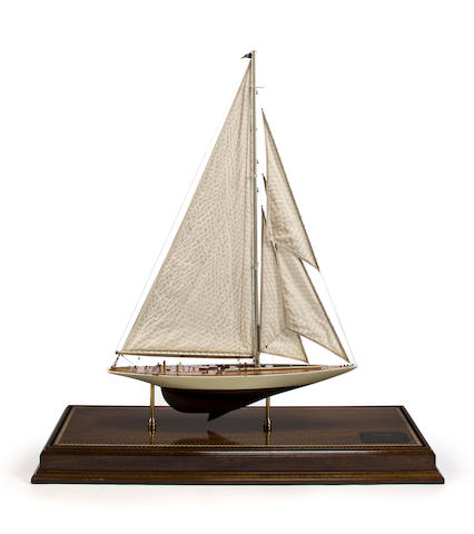 A static display model of the America's Cup yacht Enterprise  33 x 13 x 39 in. (83.8 x 33 x 99 cm.) cased.