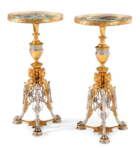 A pair of Neoclassical style gilt and silvered bronze pedestals