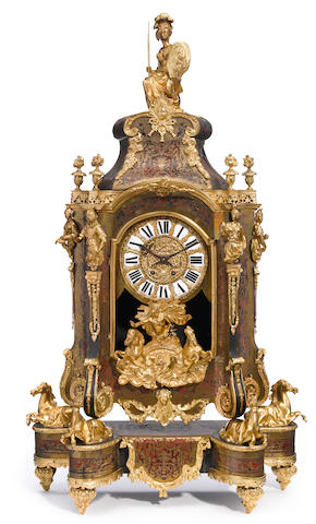 A Régence style gilt bronze mounted Boulle decorated mantel clock  20th century