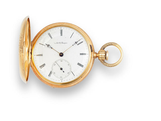 A. & U. Bourquin, Bienne. An interesting 18K gold hunting case lever watch for the American MarketMovement No.12874, circa 1865