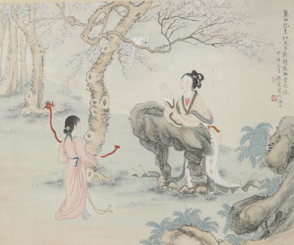 Zhou Lianxia (1908-2000)  Beauties in a Garden