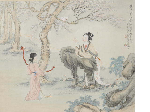 Zhou Lianxia (1908-2000) Figures, album leaf, framed and glazed