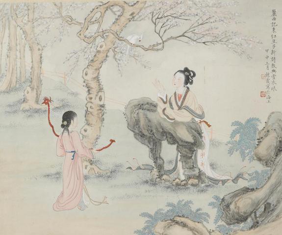 Zhou Lianxia (1908-2000) Figures, album leaf, framed and glazed