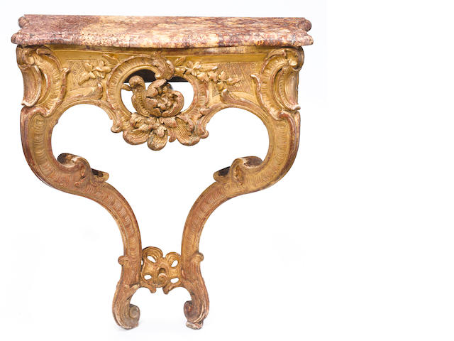 A Louis XV giltwood console <BR />mid 18th century