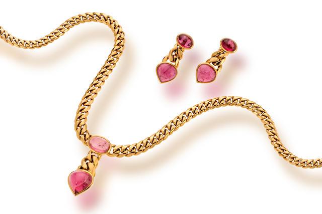 An eighteen karat gold and pink tourmaline necklace and pair of earclips, Bulgari,