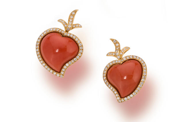 A pair of coral and diamond earclips, Tony Duquette