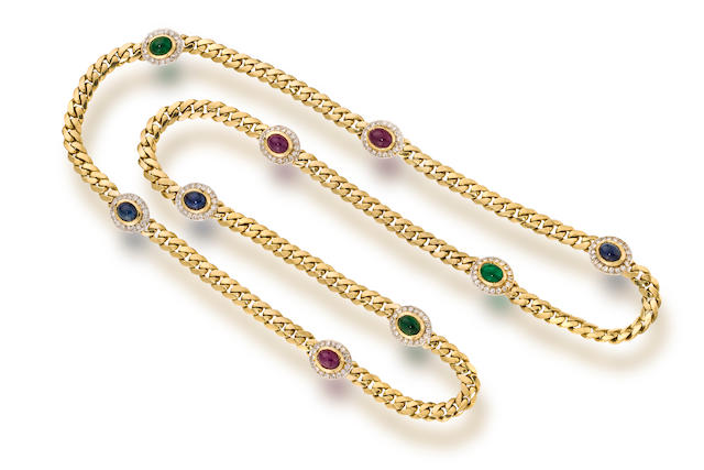 A gem-set, diamond and eighteen karat gold necklace