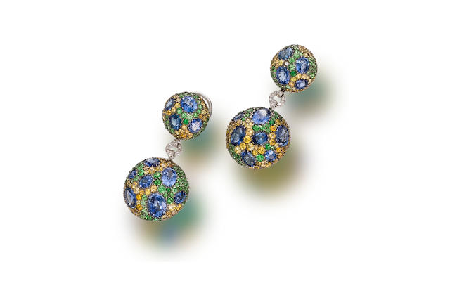 A pair of sapphire, yellow sapphire, tsavorite garnet and diamond pendant earrings