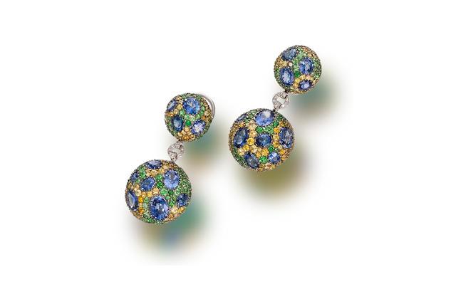 A pair of sapphire, yellow sapphire, tsavorite garnet and diamond pendant earrings