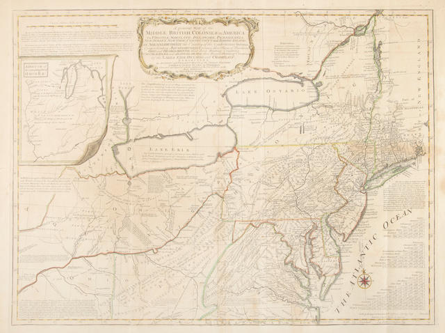 EVANS, LEWIS. c.1700-1756. A General Map of the Middle British Colonies in America: viz. Virginia, Maryland, Delaware, Pennsilvania, New Jersey, New York, Connecticut, and Rhode-Island. Of Aquanishuonigy the Country of the Confederate Indians [etc]. London: Sayer and Jefferys, 15 June 1775.