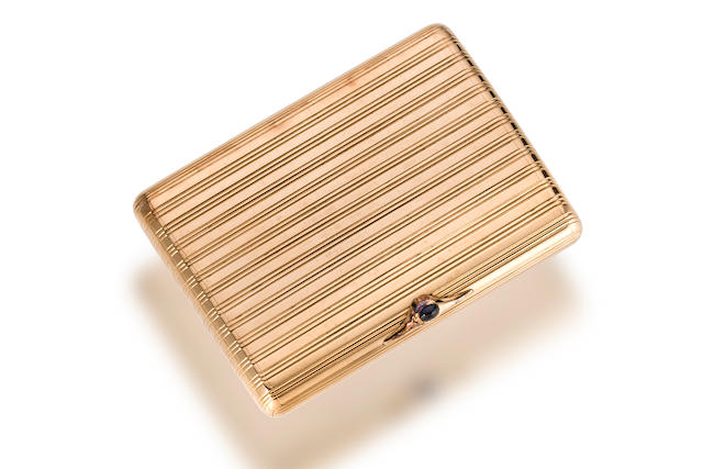 A fourteen karat gold cigarette case,