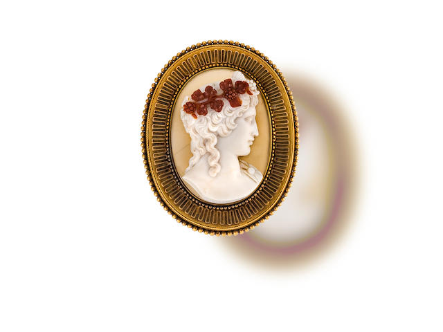An Archaeological Revival hardstone cameo brooch, retailed by Tiffany & Co.,
