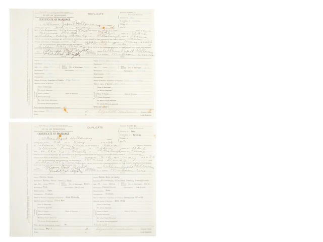 Marriage Certificate of Blane and Hulda Drake, signed by FLL Wright (2 originals)