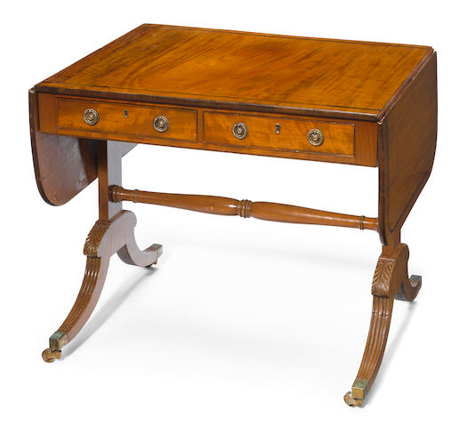 A Regency inlaid mahogany sofa table <BR />first quarter 19th century
