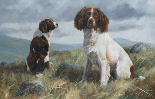 John Trickett (British, born 1952) Spaniels on a moor 20 x 30 in. (50.5 x 76cm.)