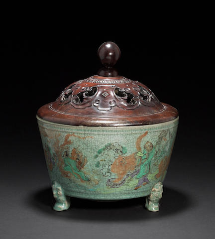 A celadon glazed porcelain censer  Ming dynasty, with later polychrome enamel decoration