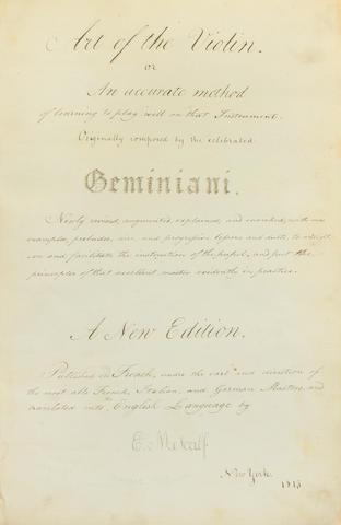 Art of the Violin. NY. 1815. Manuscripts