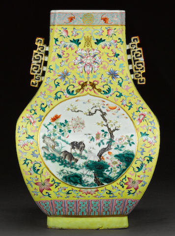A famille-jaune enameled porcelain hu-form decorated porcelain hu form vase Qianlong mark, Republic period