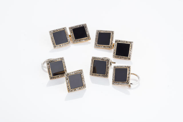 An art deco onyx and diamond dress-set,
