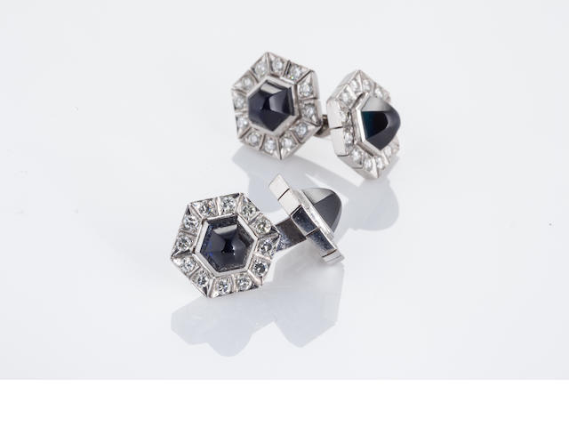 A pair of sapphire and diamond cufflinks