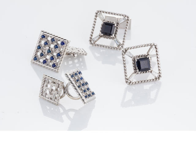Two pairs of sapphire cufflinks