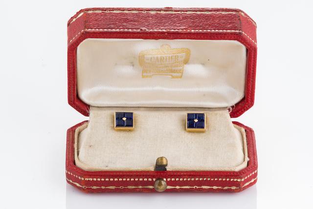 A pair of sapphire shirt studs, Cartier,