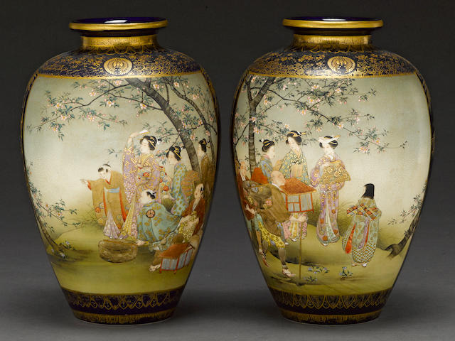 A pair of Satsuma style earthenware vases Meiji period